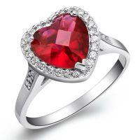 镀18K白金 微镶戒指 925 镶石系列首饰 外贸欧美流行饰品 心 戒指