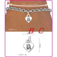 欧美风格送妹妹的金属饰品lil sis家庭系列手环手链