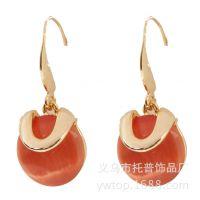 韩版水晶耳挂批发 厂家新款3色 女士夏季街拍流行风 速卖通热卖