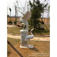 雪花白石雕工艺品摆件汉白玉动物石雕仙鹤丹顶鹤双鹤展翅石