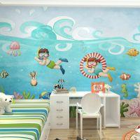 大型壁纸卧室背景墙纸 出口壁画 儿童房壁布 游泳馆背景自粘墙布