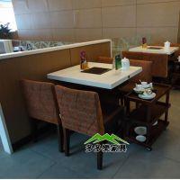 连锁餐厅火锅店方形餐桌 人造石一锅二人火锅桌 简约火锅餐桌椅