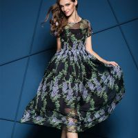 欧洲站2015夏季新款高端时尚长款复古印花女装长裙收腰气质连衣裙