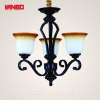 新款美式吊灯、铁艺乡村客厅餐厅书房吊灯A1001-CH3、酒店会所家装灯具