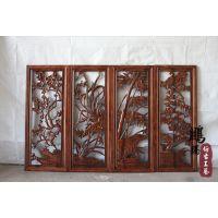 2014新款上市木质工艺品 中式仿古镂空挂件梅兰竹菊条屏定做批发