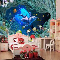 3D立体大型壁画海底世界海豚儿童房客厅电视背景墙卧室壁纸墙纸厂