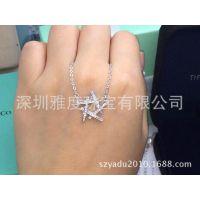 明星同款 纯银镀铂金项链 SONA钻耳饰 高仿真钻 珠宝首饰厂家直销