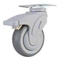 美式全塑医疗轮85kg4寸热塑性橡胶万向双刹脚轮P08-01C-100-301G