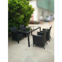 银川户外家具 现货 编藤桌椅 长方形桌子 PE仿藤休闲椅