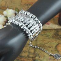 B1344异域民族风手链 复古银色雕花钱币手链 波西米亚 欧美时尚