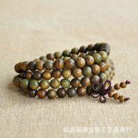 厂家直销绿檀木佛珠手链108颗男女款念珠手串木质工艺品