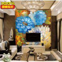 深圳厂家 油画 大型壁画 电视背景墙纸 客厅沙发卧室家装壁纸大花