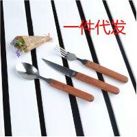 高档西餐具实木柄牛排刀叉勺3件套装牛扒刀叉餐厅用具勺子叉子