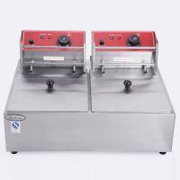 现货供应双缸双筛加厚薯条炸鸡电炸锅商用食品设备高档品质电炸炉