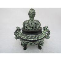 烟云涧/双龙耳熏炉/青铜器鼎熏香炉 复古工艺品摆件 家居装饰品