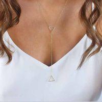 欧美外贸新款促销 双三角形细项链 Ebay速卖通货源 ALQN20150485