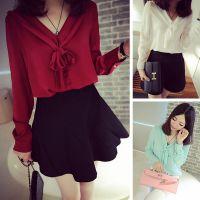 2015春季新品女装 时尚韩版蝴蝶结雪纺长袖衬衣衬衫