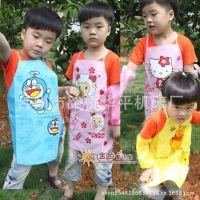 儿童围裙宝宝 外贸原单 画画衣 防水迪士尼罩衣 围裙有袖套