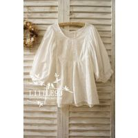日单 森林系 秀场气场款 大灯笼袖刺绣纯白娃娃款衬衫 森女清新风