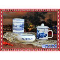 骨瓷礼品 办公三件套 陶瓷创意文具3套装 笔筒 烟缸茶杯 富贵花开