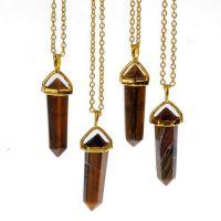 新款 速卖通 欧美 外贸饰品 镀金 虎眼石 柱子 天然石 水晶项链