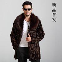 男装秋冬大衣毛毛领长款外套仿水貂拼接男 男式皮草 批发