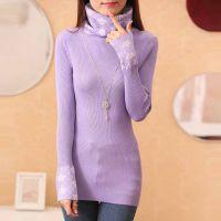2014冬季新款女装女毛衣 韩版修身弹力堆堆领套头针织打底衫女