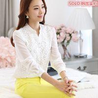 2015春装新款韩版女装大码休闲长袖雪纺衫打底衫蕾丝衫