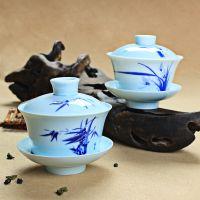 三才盖碗 青瓷彩竹兰陶瓷盖碗 功夫茶具 竹兰青瓷盖碗2色 批发