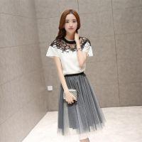 欧洲站2015夏装新款韩版修身两件套绣花打底衫网纱裙套装 好质量
