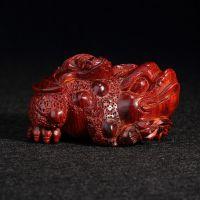 喜德堂佛珠 雕刻小叶紫檀木富贵连连手把件红木文玩手工艺品