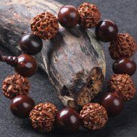 批藏式尼泊尔精品金刚菩提太阳子隔珠手珠五瓣5瓣盘龙纹通货念珠