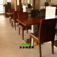 固定地面快餐桌椅 咖啡厅桌椅 两人四人方桌 铝合金包边餐桌定制