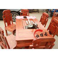 中式象头茶桌实木仿古茶艺茶台榆木功夫茶道桌椅组合餐桌两用