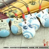 景德镇陶瓷首饰饰品批发手绘包挂铃铛小母牛车挂【JXA022】