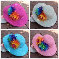 批发 夏季新款 儿童草帽 沙滩帽 遮阳帽 六色花大檐帽 MZ0232