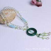 民族风 翡翠绿玛瑙配白水晶毛衣链 寓意吉祥玛瑙长项链 项饰批发