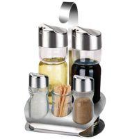 不锈钢玻璃调味瓶调味罐调料盒五件套餐桌台面调料瓶