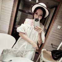 MISS YING-白花边领露肩连衣裙