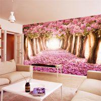 景灿大型3D整张简约拓展空间樱花花海壁纸 定制无缝无纺布壁画 客厅卧室婚房电视背景墙纸