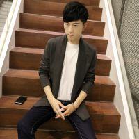 秋季韩版圆领薄款毛衣修身条纹袖针织衫男青年长袖打底衫潮J12Y38