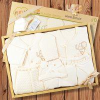 圣婴岛14年冬有机棉保暖内衣新生儿婴儿出生满月服礼盒5件套1233