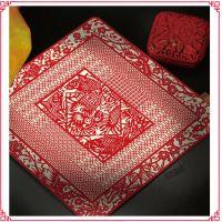 中国剪纸真丝锦案 文人雅士书房用具 红木案桌经典搭配 精致高档