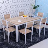 批发餐桌餐桌椅组合 小户型快餐厅小吃饭店休闲饭钢木质餐桌
