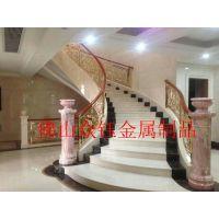 珠海酒店别墅室内高档金色楼梯护栏 铝艺护栏