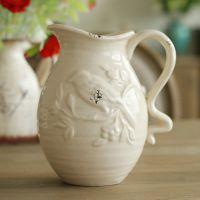 家居装饰品 美式乡村裂纹复古白色陶瓷花瓶浮雕鸟纹花器奶壶