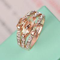 泽泰热卖爆款 速卖通优质货源  合金镀玫瑰金镶锆石食指戒指