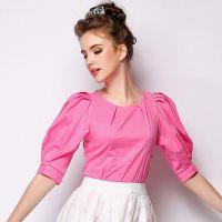 雪纺衫女2015夏 大码女装夏季新款打底衫中袖上衣小衫纯色T恤AB