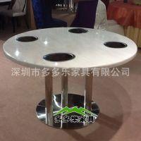 深圳定做高档酒店圆桌火锅桌大理石餐桌 小电磁炉火锅桌 多多乐家具