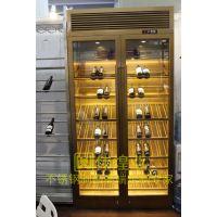 欧式乱纹不锈钢酒柜 古铜不锈钢恒温酒柜展示柜伟煌业高端定制